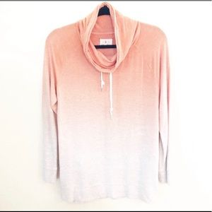 Lou & Grey Orange Ombre Cowl Neck Sweatshirt Large